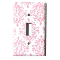 Chic Pink White Damask Light Switch Cover Cottage Room Decor Paris Bedroom Wall Decor Decorative Switchplate (MTO)