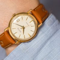 Retro style men's watch Vostok/East gold plated watch classic mechanical watch caramel leather strap watch USSR