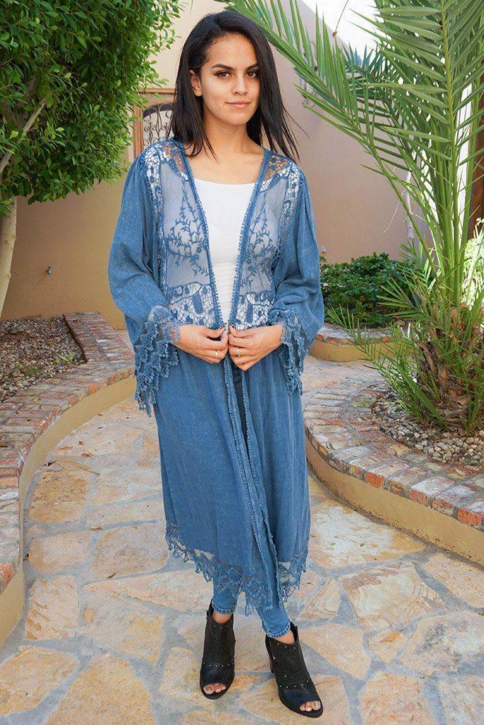 Image of Think Of Me Denim Blue Lace Midi Duster Cardigan