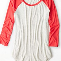 AEO Women's Soft & Sexy Colorblocked Baseball T-shirt (Oatmeal)