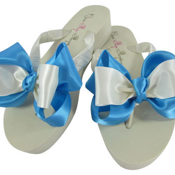 Double Copen Blue Ivory Knotted Bow Bridal Flip Flops