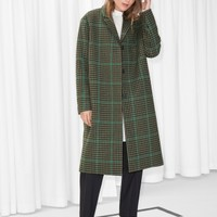 & Other Stories | Wool & Mohair Blend Long Coat | Green Tweed