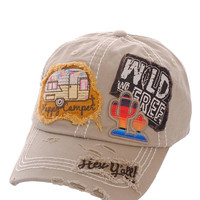 Happy Camper Wild & Free Hey Ya'll Distressed Cotton Baseball Cap Hat Khaki, Embroidered On Torn Denim Decor