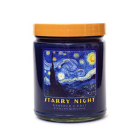 STARRY NIGHT, Scented Candle, 8oz Soy Blend Wax, Frankincense Vanilla Musk Fragrance, Vincent Van Gogh, Art History Gift, Celestial Art