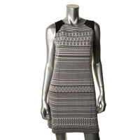 Sanctuary Womens Graphic Bodycon Knit Fitted Casual Dress