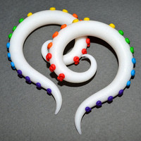 Rainbow Plugs, Octopus Tentacle Earrings for Stretched Lobes or 'Fakers' - Faux Gauges or Rainbow Fake Plugs, Tentacle Gauges