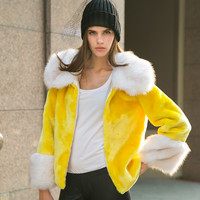 Artificial Fur Collar and Sleeve Coat