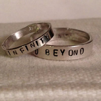 His Hers Sterling Silver Personalized Ring Band. Custom. Couples. TWO Rings. Eco Friendly.  Recycled Silver.