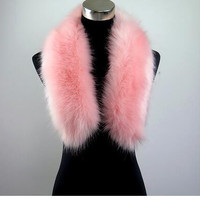 faux Raccoon fur scarf  fur shawl long faux fur collar pink color winter unisex fur shawl