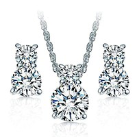 14K White Gold Plated Sparkly Round Cut Simulated Diamond Cz Necklace and Earrings Set for woman