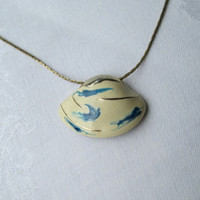 Shell-Shaped Enameled Slider Pendant Necklace Abstract Blue White Gold Gilt Vintage Jewelry