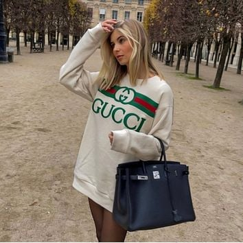 GUCCI Women Fashion Hooded Top Pullover Sweatshirt Hoodie