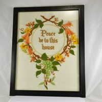 Embroidered Wall Picture, Peace Be to This House, Floral Wreath Embroidery Design Grapes Grapevine Framed Vintage Picture