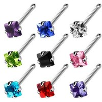 """20 GA .925 Sterling Silver Bendable Nose Ring with 2.5mm Square CZ - 1/2"""" Long (Sold Ind.)"""