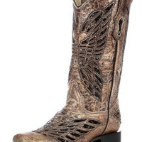 Corral Bronze & Black Sequence Crystal Butterfly Boots R1226