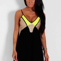 Superstar Gold and Green Sequin Babydoll Mini Dress | Pink Boutique