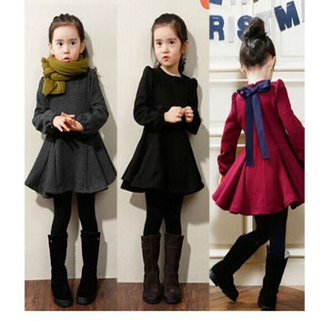 2-7Y Child Kids Girl Long Sleeve Dress Flare Skirt Casual Cotton Dress Clothes = 1930069316