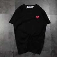 """Comme des Garçons PLAY"" Unisex Casual Simple Love Heart Embroidery Short Sleeve Couple T-shirt Top Tee"