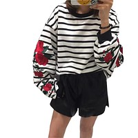 Retro 2018 Autumn Harajuku Hoodies Roses Embroidered Lantern Sleeve Lolita Striped Women Sweatshirt Vintage Elegant Tops Femme