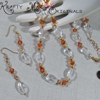 Chili Pepper Swarovski Crystals and Beautiful Glass Necklace Set