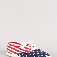 American Flag Lace Up Sneaker Color: American Flag, Size: 6.5