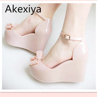 Akexiya Wedges female sandals 2017 color jelly shoes bow platform open toe high-heeled shoes