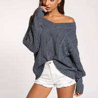 Blue Cable Knit Puff Sleeve Sweater Top