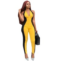 Open Back V Neck Bandage Jumpsuit Sleeveless Patchwork Color Skinny Backless Sexy Night Club Bodycon Rompers Womens Jumpsuit