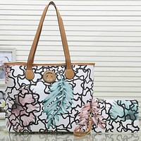 Tous Women Fashion Leather Tote Clutch Bag Shoulder Bag Satchel Set Two Piece