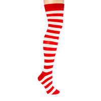 Candy Cane Striped Knit Over the Knee Socks