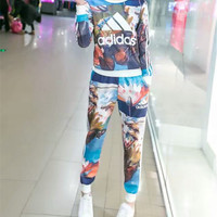 """Adidas"" Fashion Casual Multicolor Stripe Letter Print Long Sleeve Sweater Set Two-Piece Sportswear"