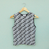Vintage 90's Black and White Tank Top. Was £14
