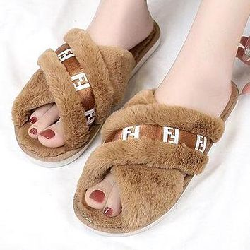 FENDI Autumn Winter Newest Fashion Women Fur Flats Sandals Slippers Shoes Brown