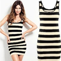 Sexy Slim Round-neck Sleeveless Stripes Vest Skirt One Piece Dress [6339107265]