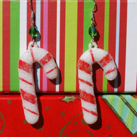 Giant Glitter Candy Cane Earrings With Green Accent Christmas Dangles Holiday Earwires