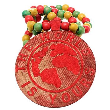 Red Wooden The World Is Yours Beaded Necklace