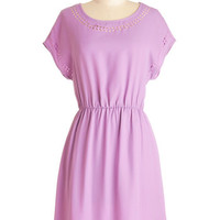ModCloth Pastel Mid-length Short Sleeves A-line Skipping Through the Lilacs Dress