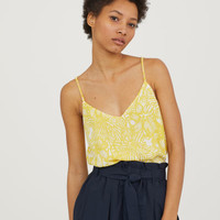 Chiffon Camisole Top - Yellow/floral - Ladies | H&M CA