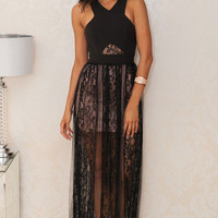 Black Cross Wrap Floral Lace Overlay Maxi Dress