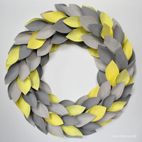 living room decor, fall wreath, modern cottage, modern decor, Paper Wreath, Year Round Wreath, yellow grey decor, newspaper leaf