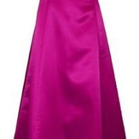 50s Strapless Satin Long Bridesmaid Prom Dress Formal Junior Plus Size, XS, Burgundy
