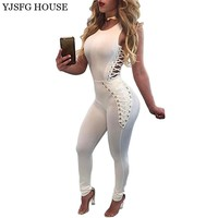 White Bodycon Jumpsuits Casual Bandage  Bodysuit Sexy Summer Sleeveless Rompers Overalls