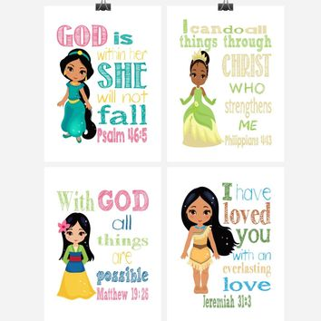 Princess Christian Nursery Decor Set of 4 Prints, Jasmine, Tiana, Mulan and Pocahontas with Bible Verses