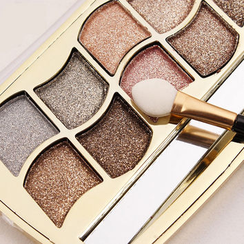 12 Color Glittery Eye Shadow Palette with Brush