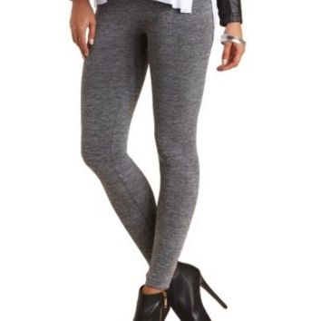 Space Dyed Fleece-Lined Leggings by Charlotte Russe - Charcoal