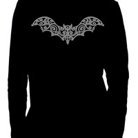 Wrought Iron Grey Vampire Bat Men's Long Sleeve T-Shirt Gothic Clothing