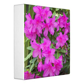 Pink Rhododendron Blooms Floral 3 Ring Binder