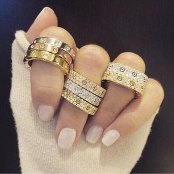 """Cartier"" Ring Women Men Full of Diamonds Ring Stars Couple Ring Accessories"