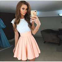 Women Summer Sexy White Lace Party Dresses Elegant Vintage O-neck Casual Mini Dress