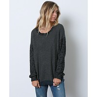 I'm Up For It Sweater Top - Charcoal